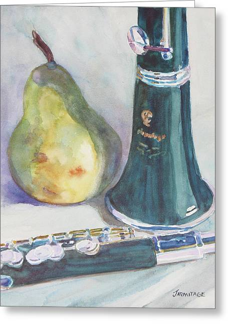 Duet For A Pear Greeting Card by Jenny Armitage