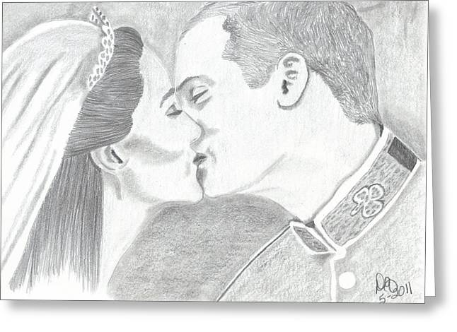 Duke And Duchess Of Cambridge Greeting Card by DebiJeen Pencils