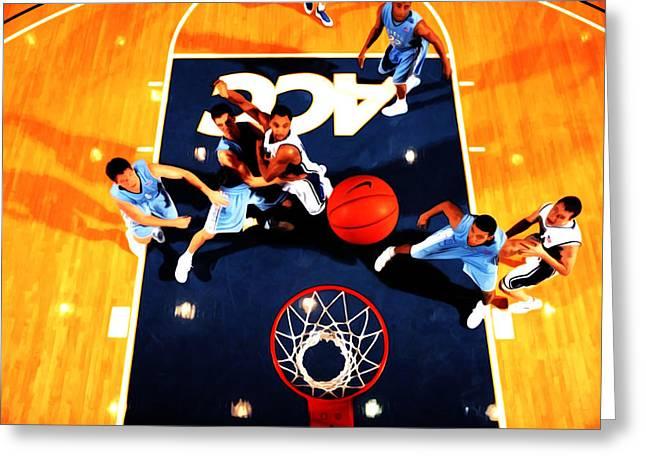 Duke And North Carolina Basketball Rivalry Greeting Card by Brian Reaves