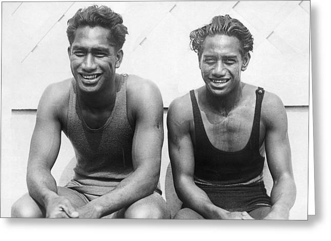 Duke And Sam Kahanamoku Greeting Card by Underwood Archives