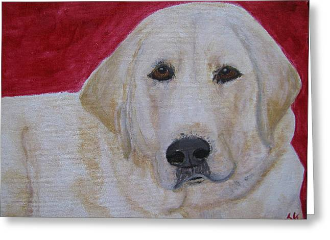 Greeting Card featuring the painting Duke by Barbara Giordano