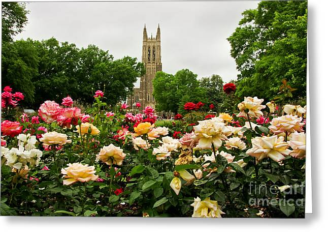 Duke Chapel And Roses Greeting Card