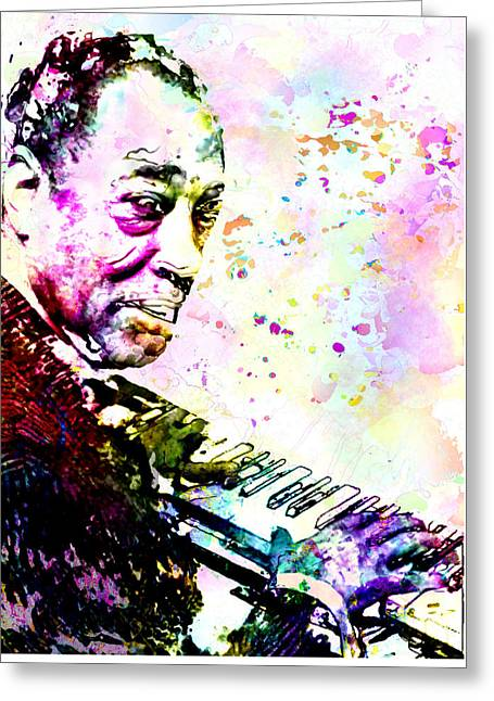 Duke Ellington Greeting Card by Elena Kosvincheva
