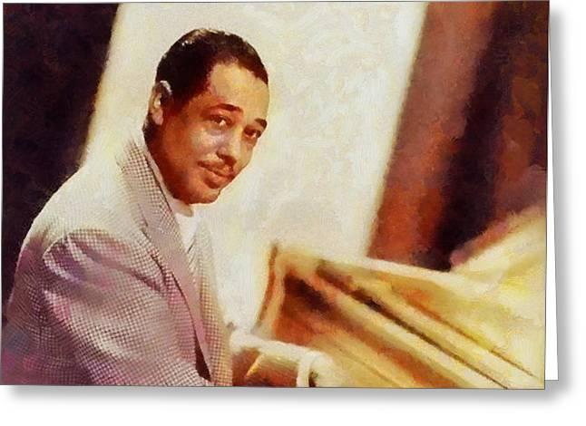 Duke Ellington, Music Legend Greeting Card by Sarah Kirk
