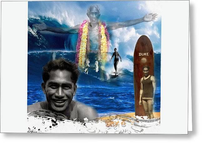 Duke Kahanamoku  Greeting Card by Carl Gouveia