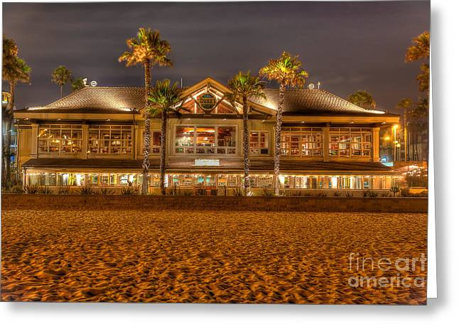 Greeting Card featuring the photograph Duke's Restaurant Huntington Beach - Back by Jim Carrell
