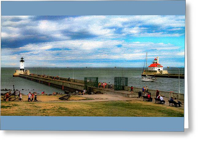 Duluth Canal Park Lighthouses Greeting Card