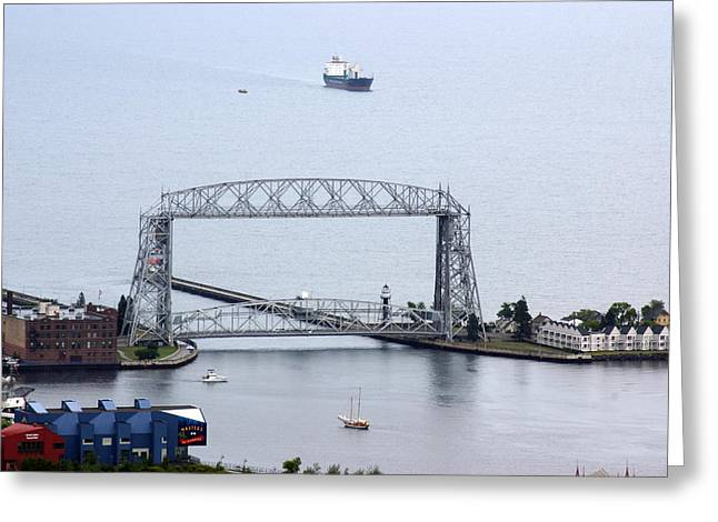 Greeting Card featuring the photograph Duluth Lift Bridge On A Grey Day by Ron Read