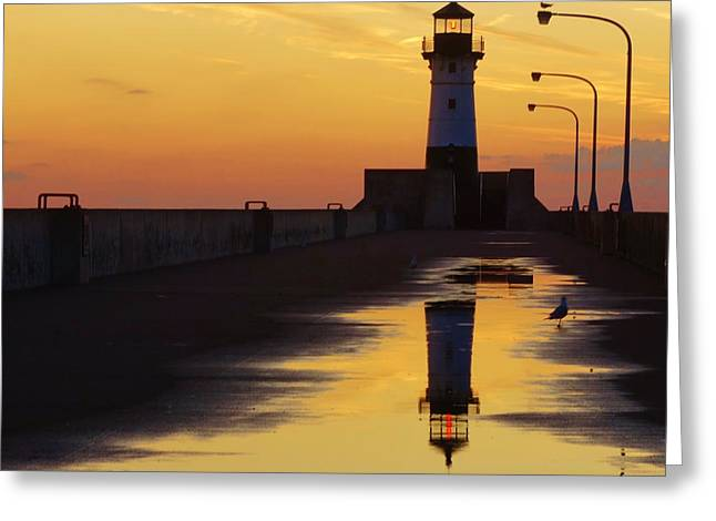 Duluth North Pier Lighthouse Greeting Card by Jan Swart