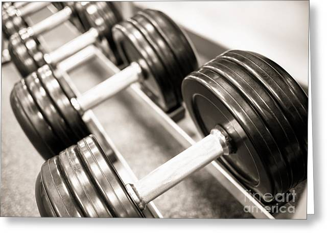 Dumbbell Weights On A Rack Greeting Card by Paul Velgos