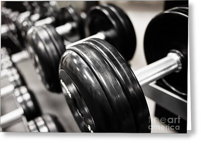 Dumbbell Weights Rack At A Healthclub  Gym  Greeting Card