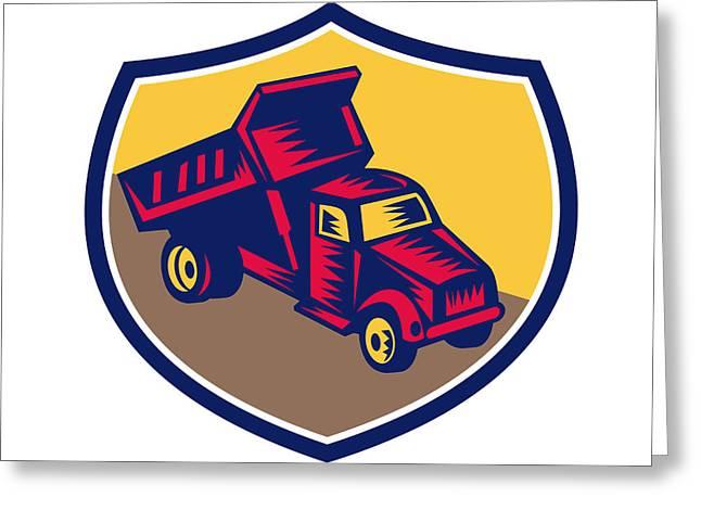 Dump Truck Shield Woodcut Greeting Card by Aloysius Patrimonio