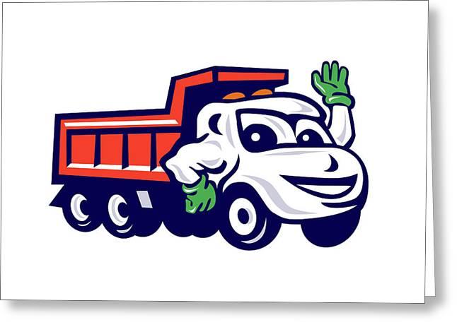 Dump Truck Waving Cartoon Greeting Card by Aloysius Patrimonio