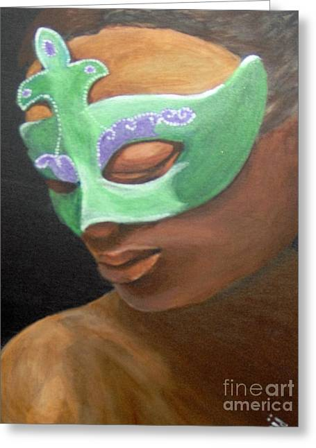 Greeting Card featuring the painting Dunbar's Mask by Saundra Johnson