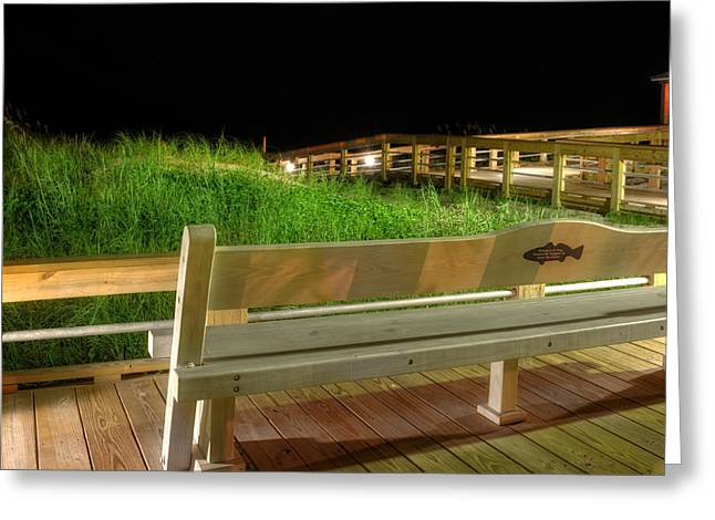 Dune Bench At Night Greeting Card by Greg Mimbs