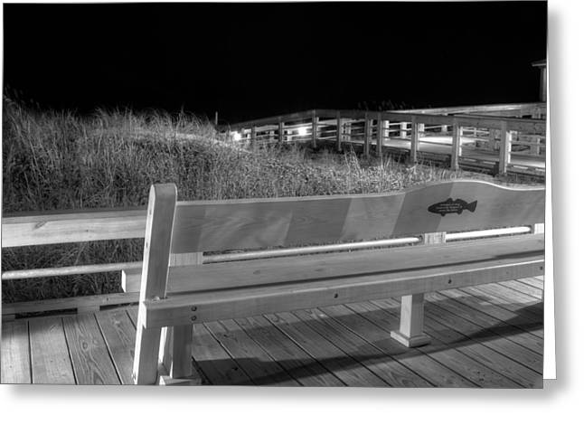 Dune Bench At Night In Black And White Greeting Card by Greg Mimbs