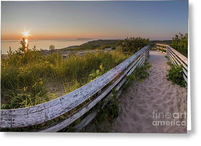 Dune Boardwalk At Sunset Greeting Card by Twenty Two North Photography