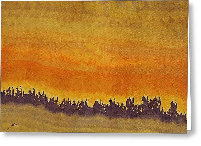 Dune Forest Original Painting Greeting Card by Sol Luckman