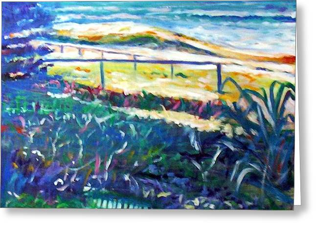Greeting Card featuring the painting Dune Grasses by Winsome Gunning
