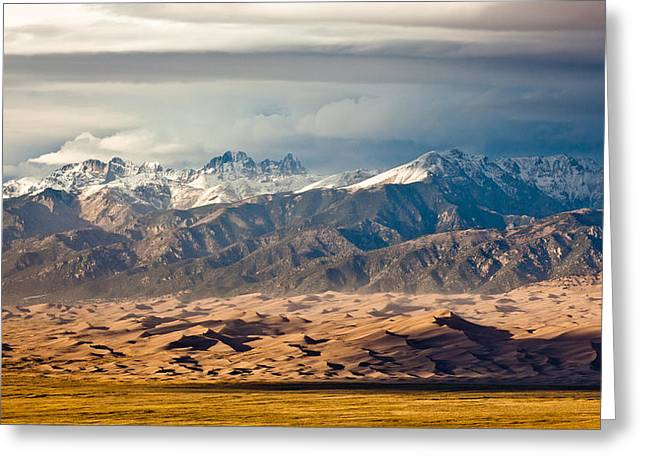Dunes And Sangre De Christos Greeting Card by Adam Pender