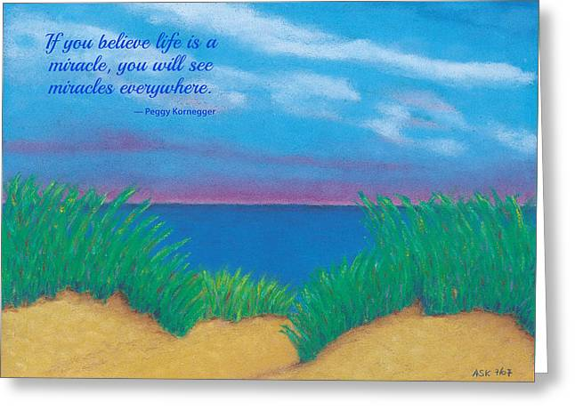 Dunes At Dawn - With Quote Greeting Card