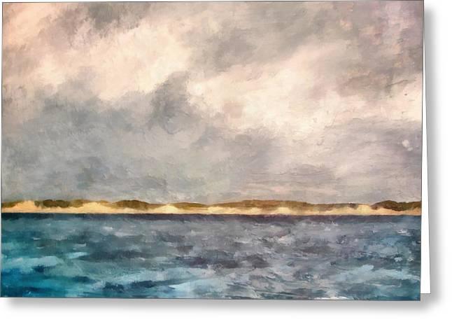 Dunes Of Lake Michigan With Rough Seas Greeting Card