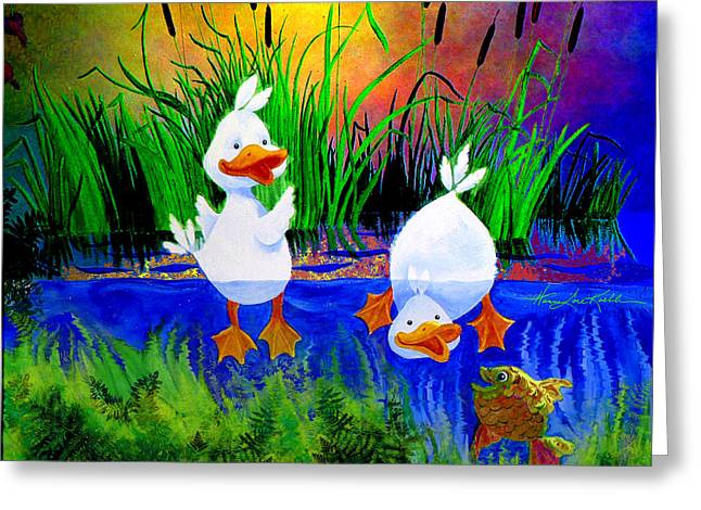 Dunking Duckies Greeting Card by Hanne Lore Koehler