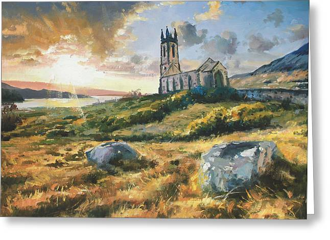 Sun Rays Paintings Greeting Cards - Dunlewy Church Greeting Card by Conor McGuire
