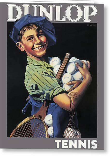 Dunlop Tennis Ball Boy  C. 1920 Greeting Card by Daniel Hagerman