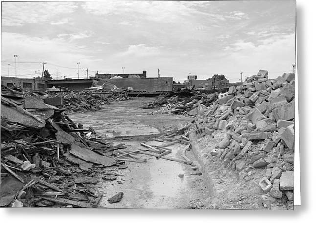 Dunn Greeting Cards - Dunn Street Demolition Greeting Card by Reb Frost