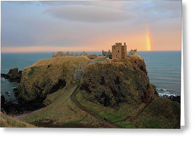 Greeting Card featuring the photograph Dunnottar Castle Sunset Rainbow by Grant Glendinning