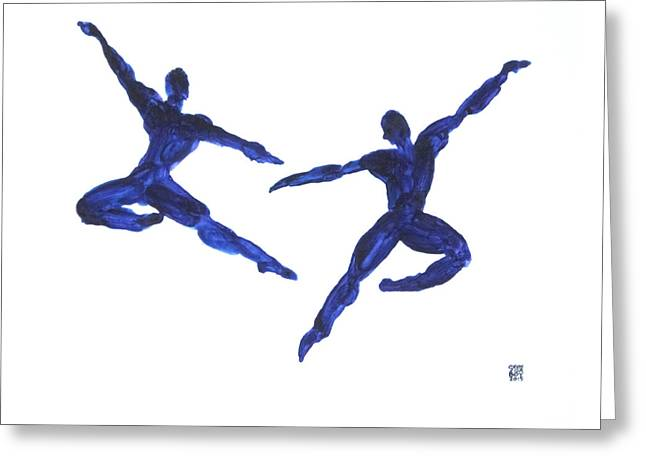 Duo Leap Blue Greeting Card