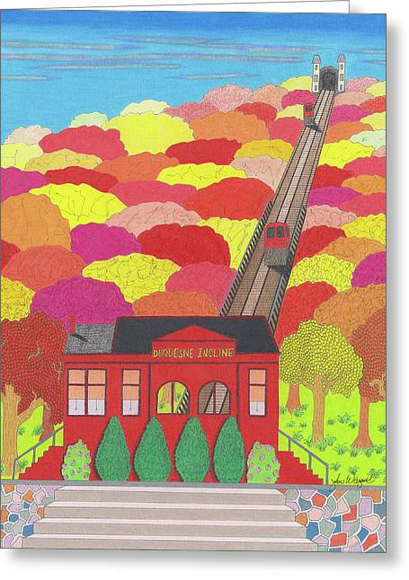 Duquesne Incline Greeting Card by John Wiegand