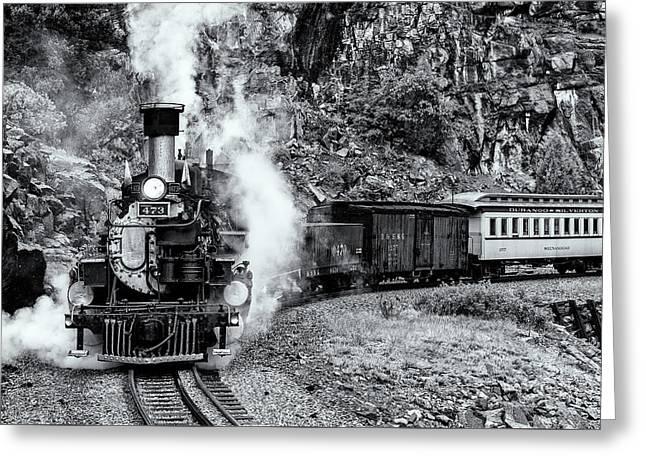 Durango Silverton Train Bandw Greeting Card