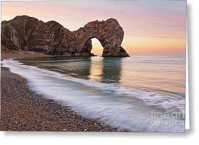 Durdle Door First Light Greeting Card by Richard Thomas