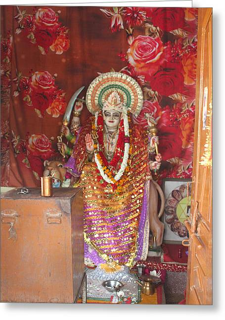 Durga At Neem Karoli Baba Ashram, Vrindavan Greeting Card by Jennifer Mazzucco