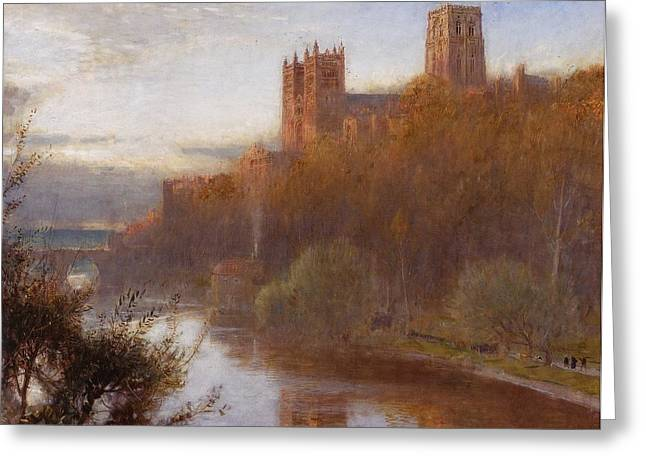 Durham Cathedral Greeting Card by Albert Goodwin