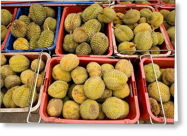 Durian Fruits At An Outdoor Market Greeting Card by Tim Laman