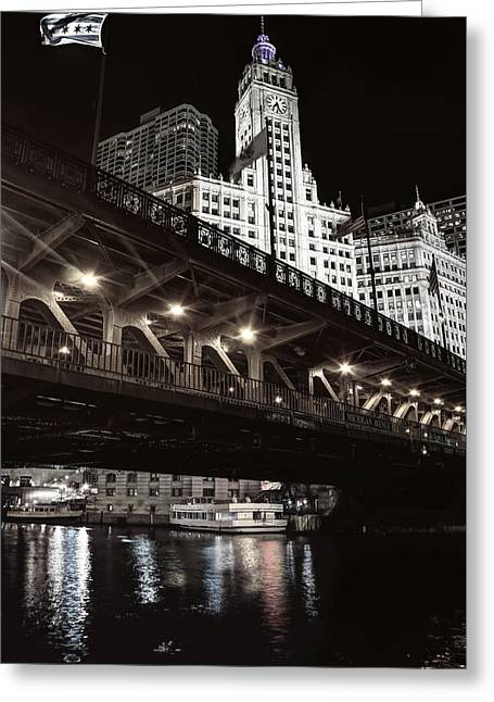 Dusable Bridge And Wrigley Building - Chicago  Greeting Card