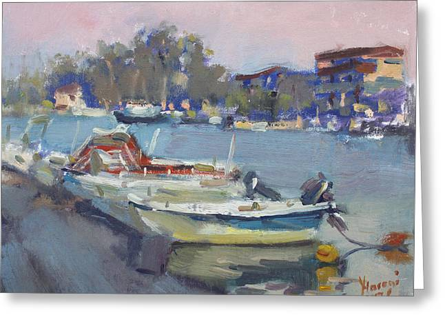 Dusk At Chalkoutsi's Harbor Greece Greeting Card