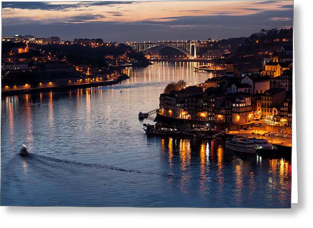 Dusk At Douro River In Porto Greeting Card by Artur Bogacki