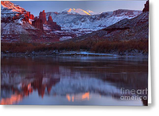 Greeting Card featuring the photograph Dusk At Fisher Towers by Adam Jewell