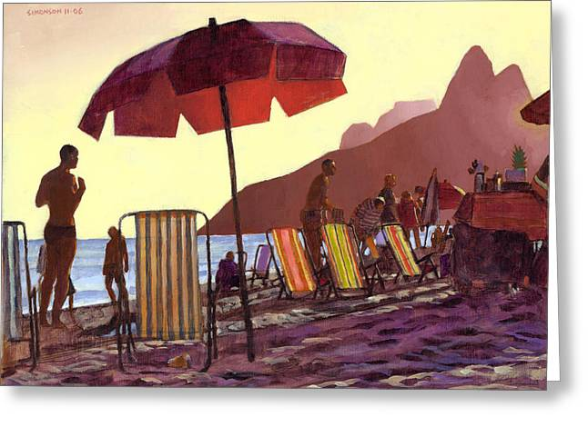 Ipanema Beach Greeting Cards - Dusk at Ipanema 1 Greeting Card by Douglas Simonson