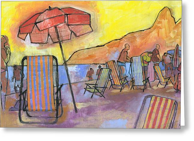 Ipanema Beach Greeting Cards - Dusk at Ipanema 2 Greeting Card by Douglas Simonson