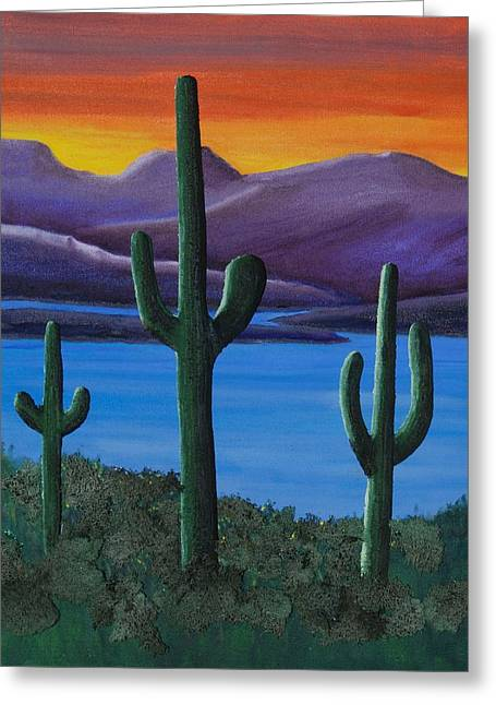 Dusk At Lake Roosevelt Greeting Card by Ted Hess
