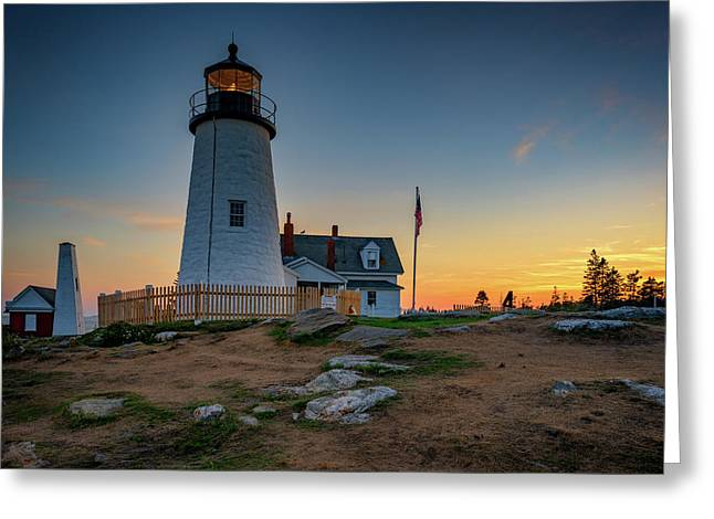 Dusk At Pemaquid Point Greeting Card by Rick Berk