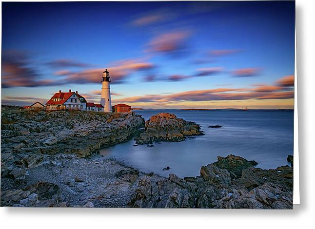 Dusk At Portland Head Lighthouse Greeting Card by Rick Berk