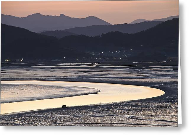 Greeting Card featuring the photograph Dusk At Suncheon Bay by Ng Hock How