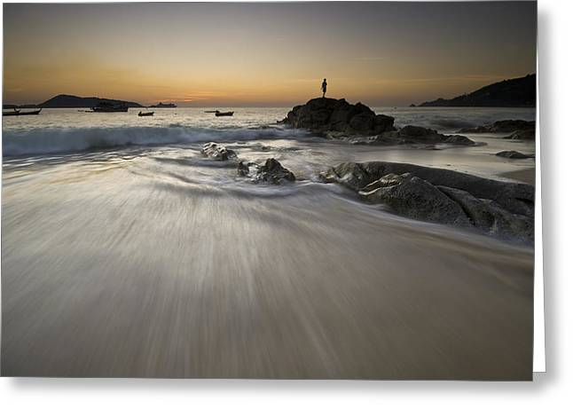 Greeting Card featuring the photograph Dusk At The Beach by Ng Hock How