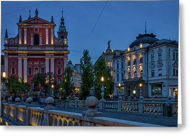 Greeting Card featuring the photograph Dusk At The Triple Bridge - Slovenia by Stuart Litoff